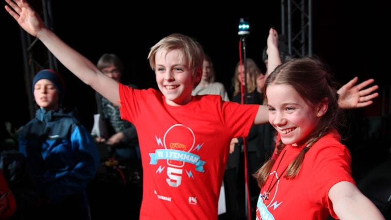 Herrängens skola från Älvsjö vann första semifinalen. Foto: Emelie Smedslund/Sveriges Radio