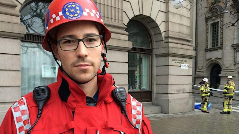 Räddningsledare Robin Haglund vid Storstockholms brandförsvar.