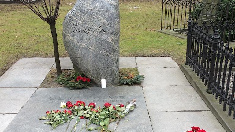 Olof Palmes gravsten på Adolf Fredriks kyrkogård