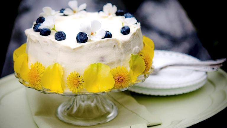 Berit firar dagen med gräddtårta.