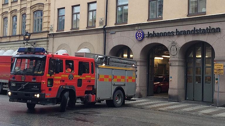 Brandbil vid Johannes brandstation (arkivbild).