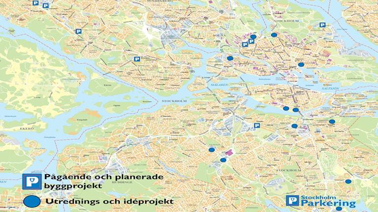 Kartan visar påbörjade och planerade parkeringsprojekt i Stockholm. Källa: Stockholm Parkering