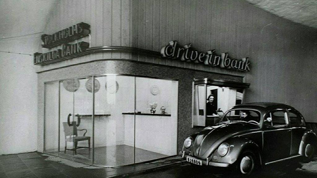 Christinas mamma arbetade på drive-in-bank vid Slussen.