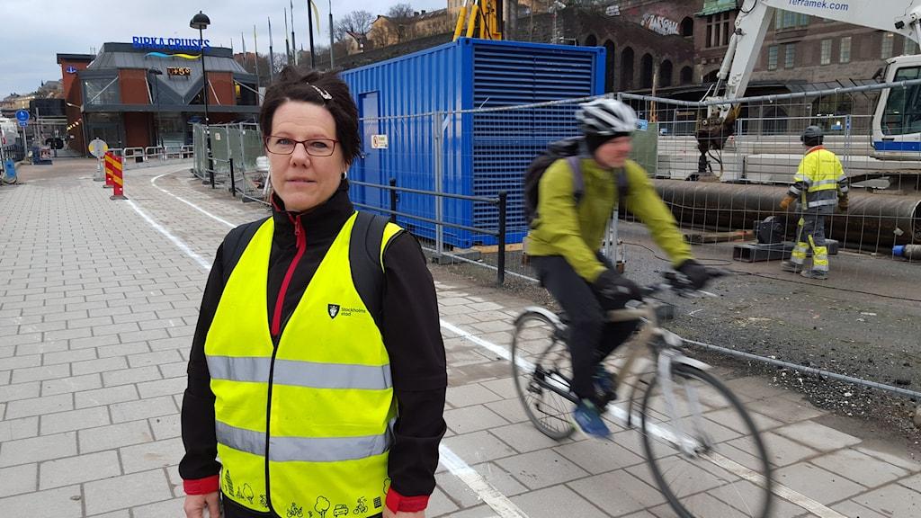 Eva Rosman, kommunikationsansvarig för ombyggnationen av Slussen. Foto: Björn Lindberg/SR