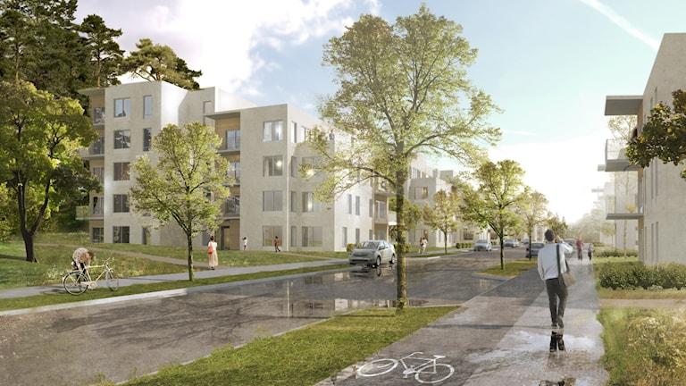 En skiss på hur hyreshusen i Blackeberg kan komma att se ut.