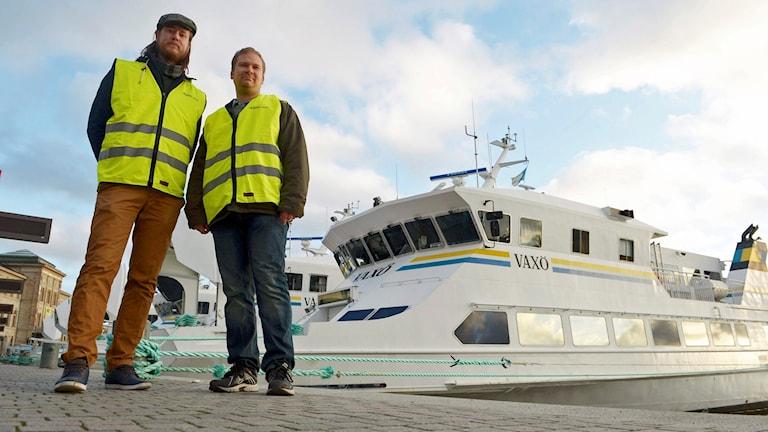 Strejkvakterna Erik Ekblom och Samuel Mikkonen Wingårdh