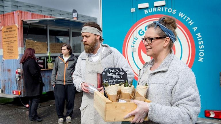 Jens Almgren och Pernilla Elmquist från Malmö segrade i Foodtruck-SM med en sparrisklämma.