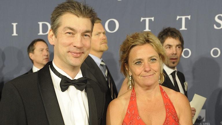 Olov Carlsson, här tillsammans med Eva Hamilton, SVT:s fd vd (arkivbild).