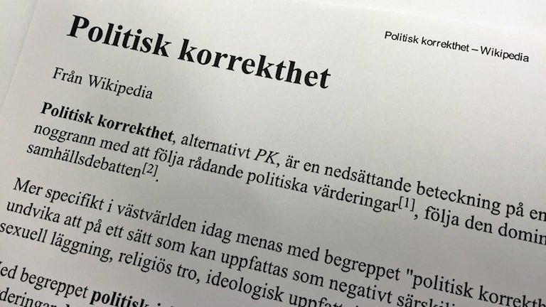 Definition av politiskt korrekthet PK
