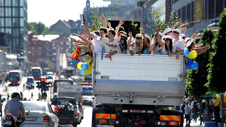 Studentflak i Stockholmstrafiken.