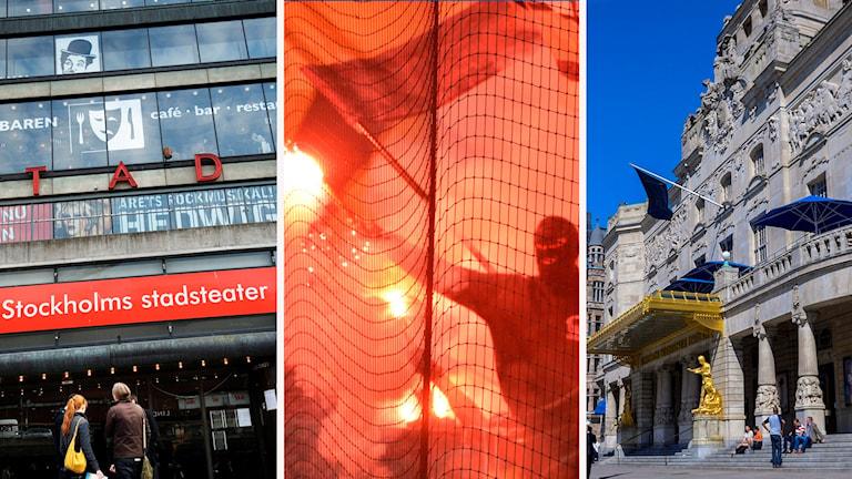 Bildmontage Stockholms stadsteater, fotbollsderby på Friends Arena och Dramaten.
