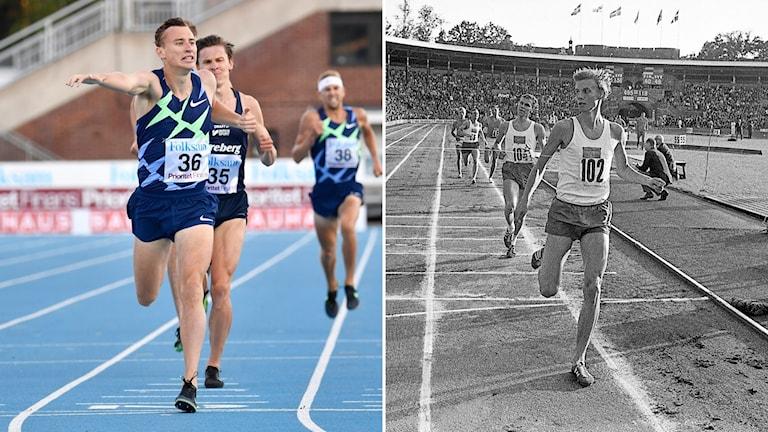 Kalle Berglund slår rekordet. Till höger: Anders Gärderud under Finnkampen 1967.
