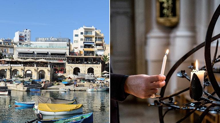 Bildmontage med foto från Valetta på Malta och en präst i Svenska kyrkan med ett ljus.