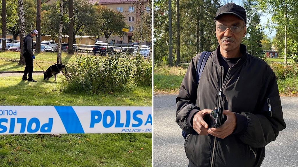 Delad bild, avspärrning och hund som söker på brottsplats och bild på Abd Alkhaleq Muhammed.