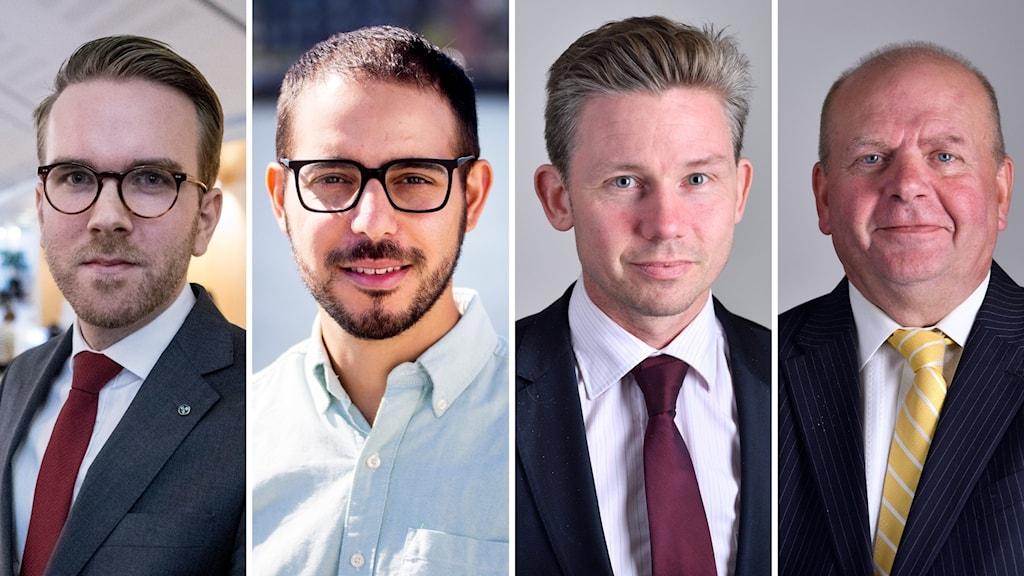 Andreas Carlson (KD), Robert Hannah (L), Pål Jonson (M), Eskil Erlandsson (C)