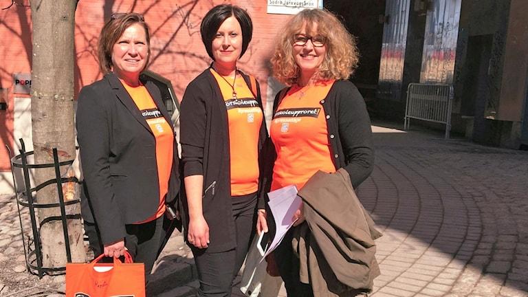 Förskoleupprorets administratörer Annica Järking, Anki Jansson och Katrin Nörthen.