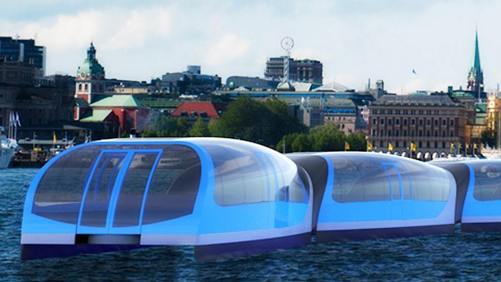 Så här kan en vattenbuss komma att se ut, enligt KTH-studenter som skissat på olika förslag.