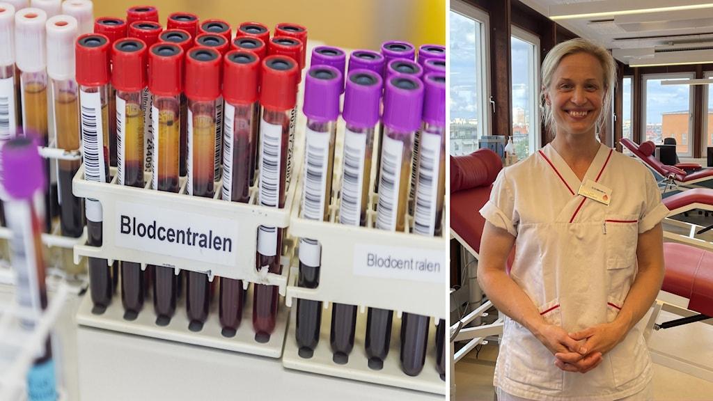 BIld i två-split, den vänstra är blodprovrör i ställning och en bild på sjuksköterskan Lisa Barndt i vit skjorta och byxor.