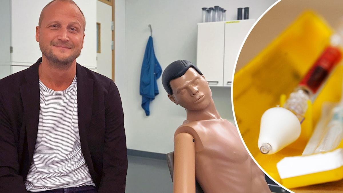 Läkaren Martin Kåberg och en spruta