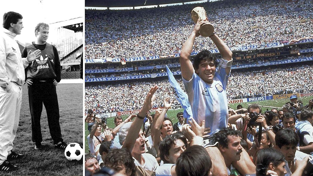 Till vänster, Hans Holmqvist. Till höger Maradona upplyft av folkmassa med pokal i hand.