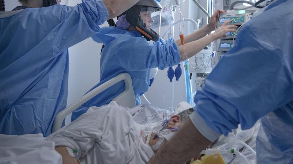 Patient intensivvårdas för covid-19
