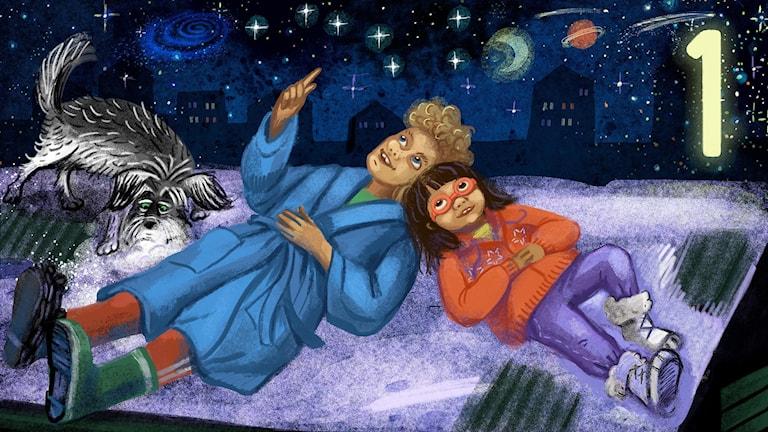 Biggest Bang, del 1: Tyra, Lukas och Rufsa är på garagetaket och tittar på stjärnhimlen. Bild: Anna Sandler