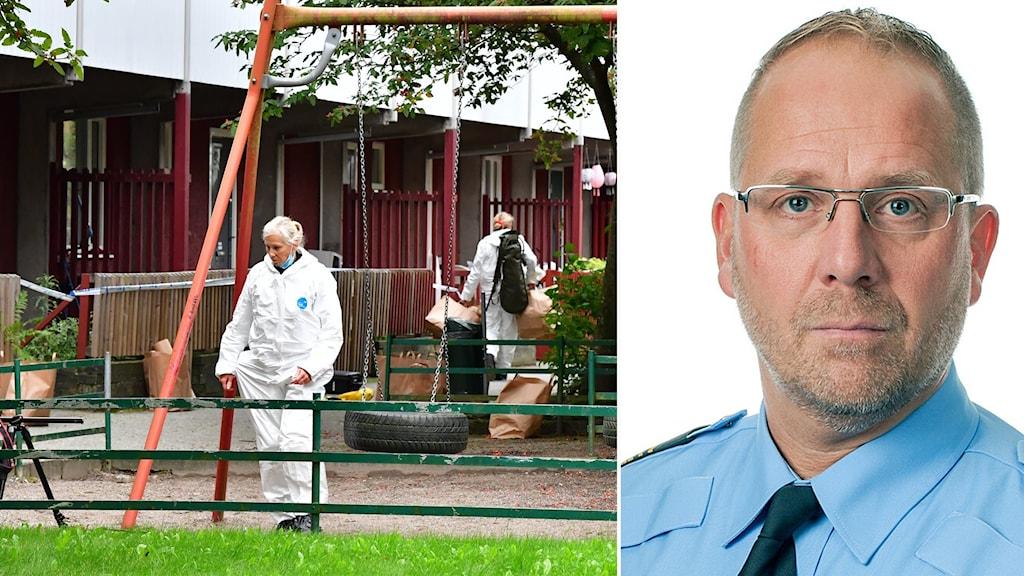 Polisens kriminaltekniker iförda vita dräkter undersöker lekplats i Hjulsta. Till höger Robert Karlsson, biträdande regionpolischef i Stockholm.