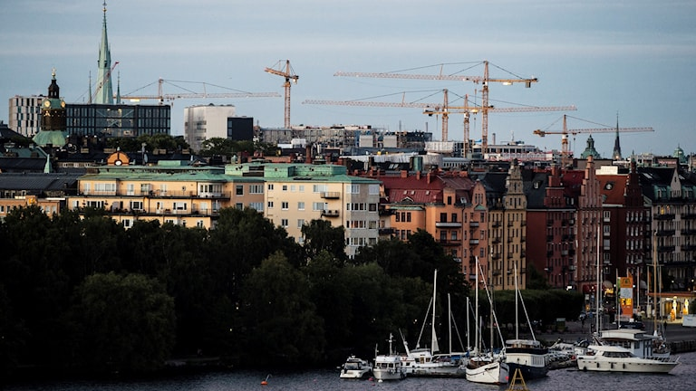 Byggkranar över Kungsholmen i Stockholm.