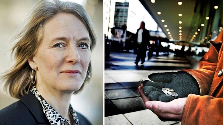Marika Markovits från Stockholms Stadsmission. Foto: Stadsmissionen och Oskar Kullander/TT.