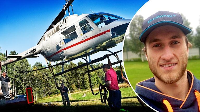 Piloten Emil Karlsson kör rånarhelikoptern från Västberga