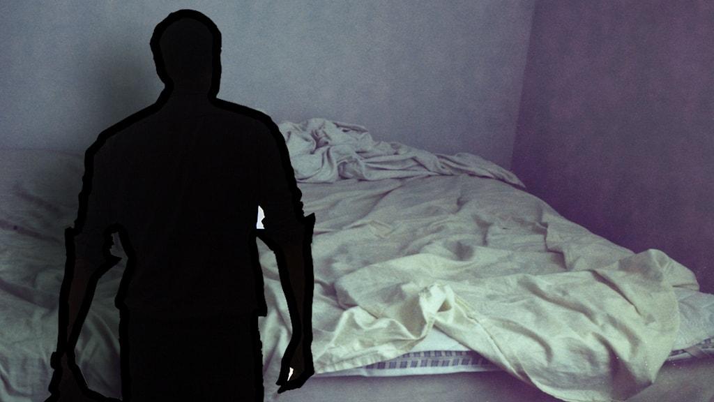 Montage: Säng och siluett av en man.