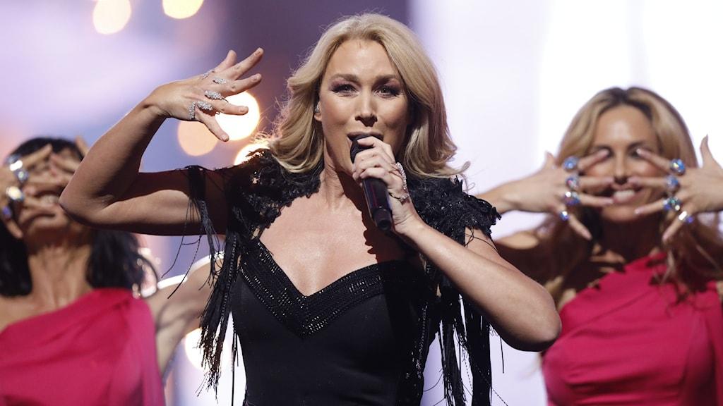Jessica Andersson i Melodifestivalen 2018.