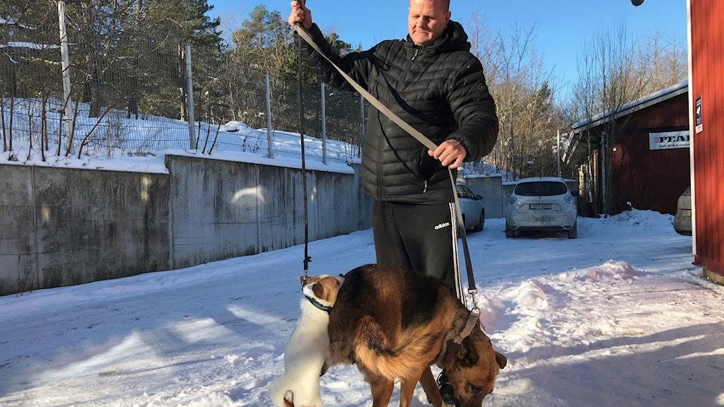 Hundarna Peppi och Sabi på väg till Hundstallet för att få fri veterinärvård.