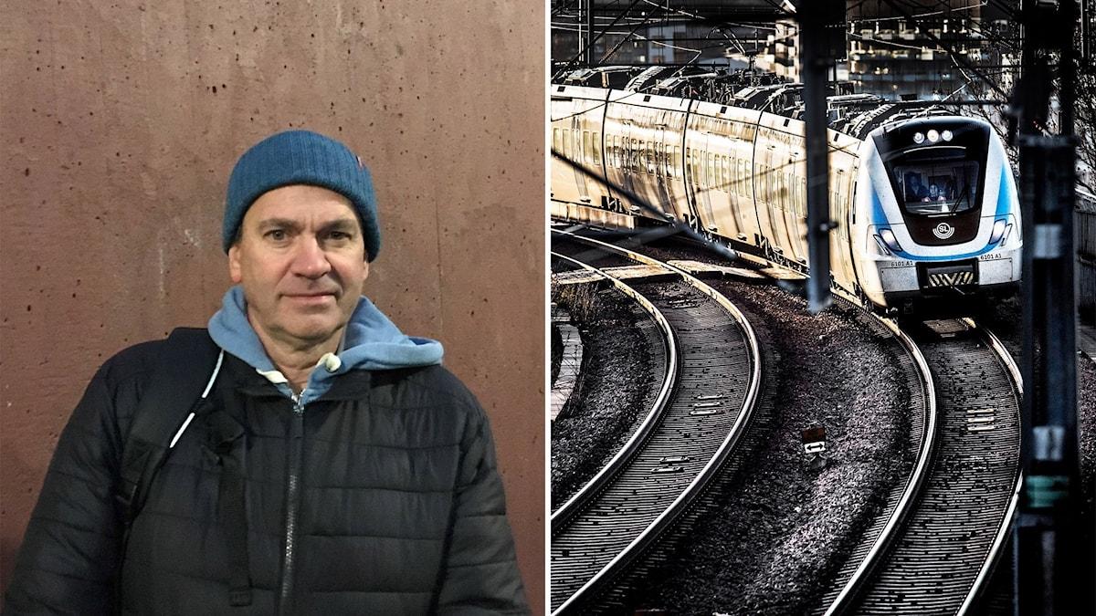 En man står mot en rödbrun vägg till vänster, till höger syns ett pendeltåg.
