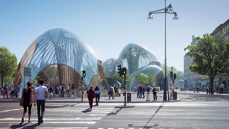 S:t Eriksplan gatuvy av Utopia Arkitekters ritning.