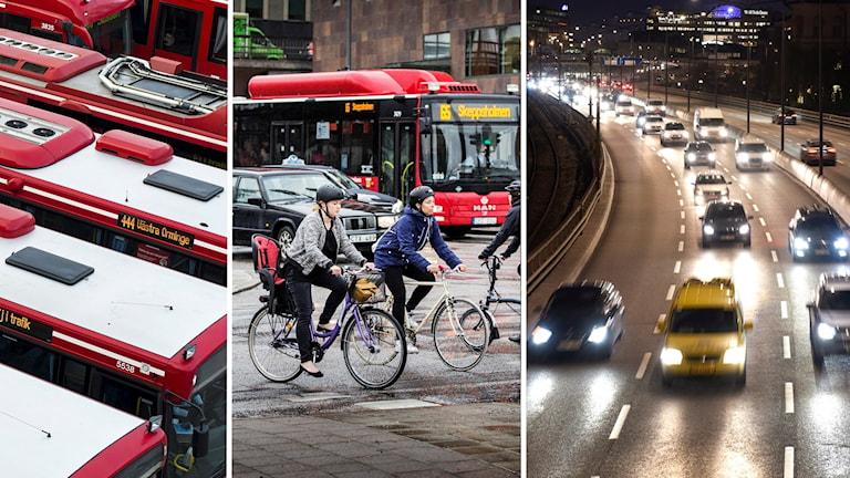 Buss, cykel och bilar i Stockholm.