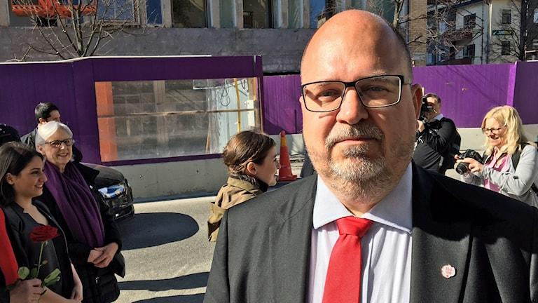 LO:s ordförande Karl-Petter Thorwaldsson höll sitt 1:a maj-tal i Sundbyberg.