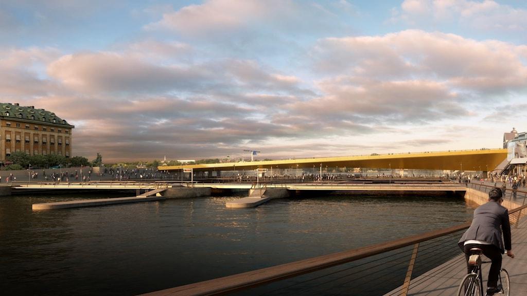 """En illustration av den nya """"guldbron"""" som ska placeras vid Slussen."""