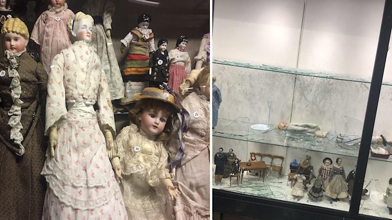 Bild på dockorna som stals och glasspiller efter inbrottet.