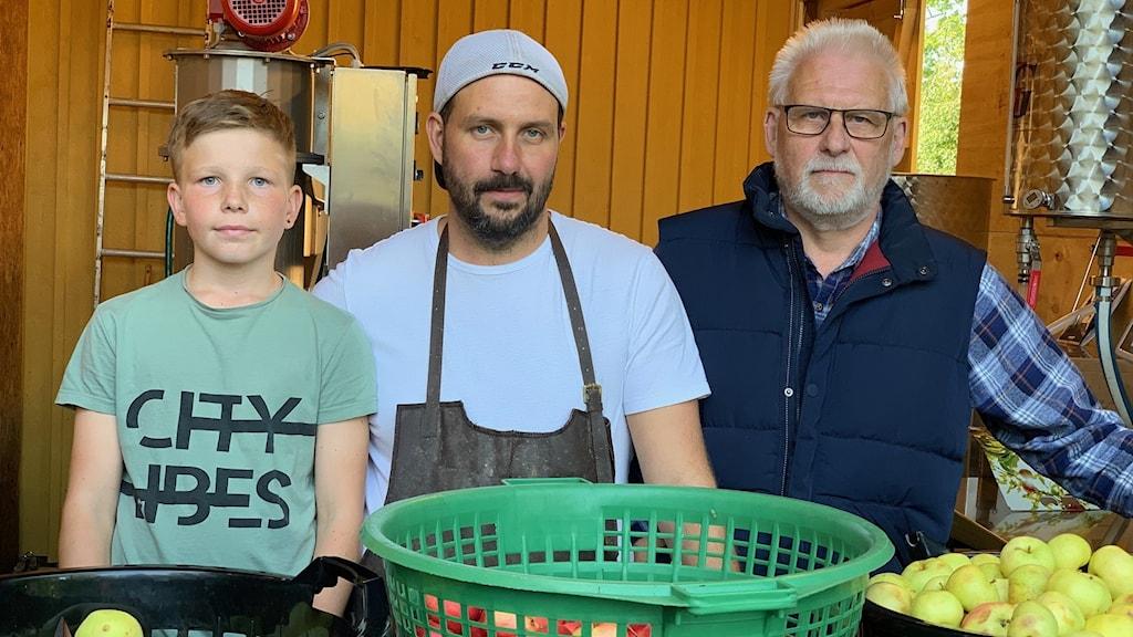 Tre generationer äppelmustare, Oliver, Christian och Mats.