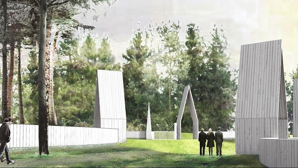 Illustration över Järva begravningsplats