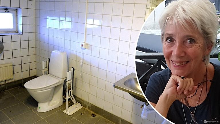 Märta Lauritzen och en toalett