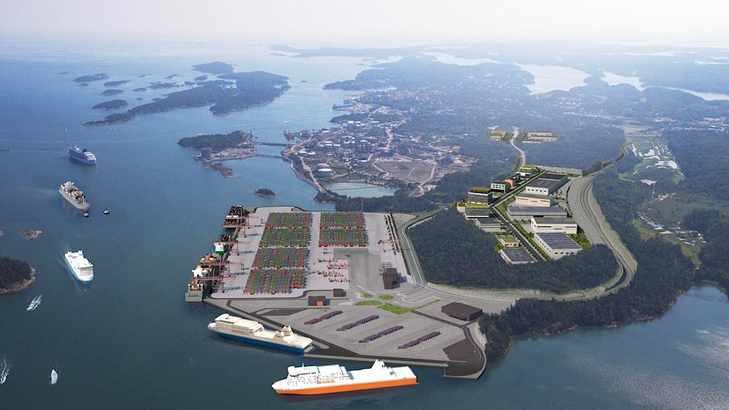 Planerade hamnen i Norvik.