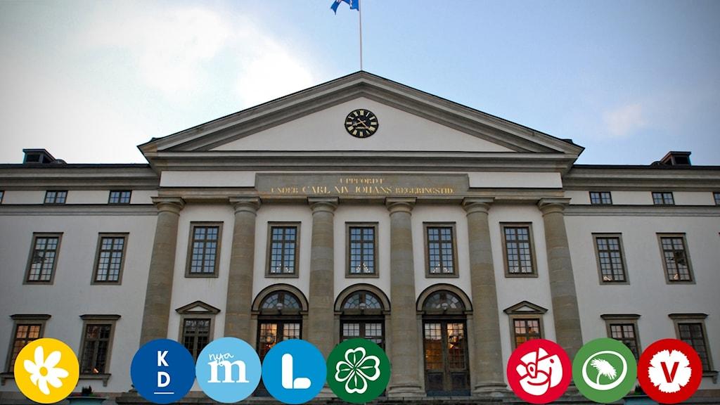 Landstingshuset och partiernas loggor.