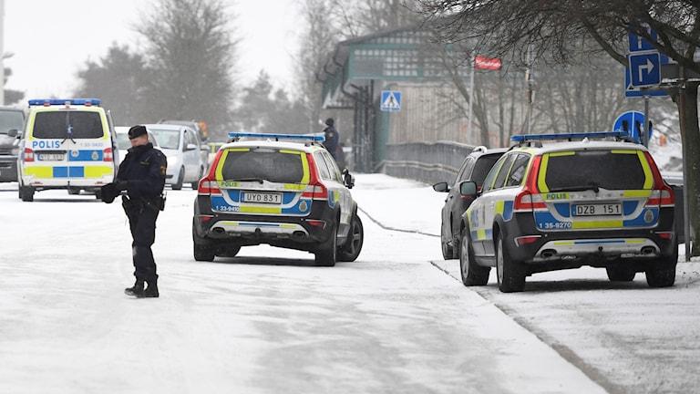 Polisen hade omfattande resurser på plats efter dubbelmordet i Hallonbergen.