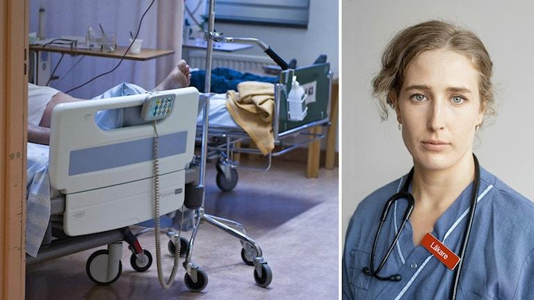 En man i en säng, till höger läkaren Laura Björnström.