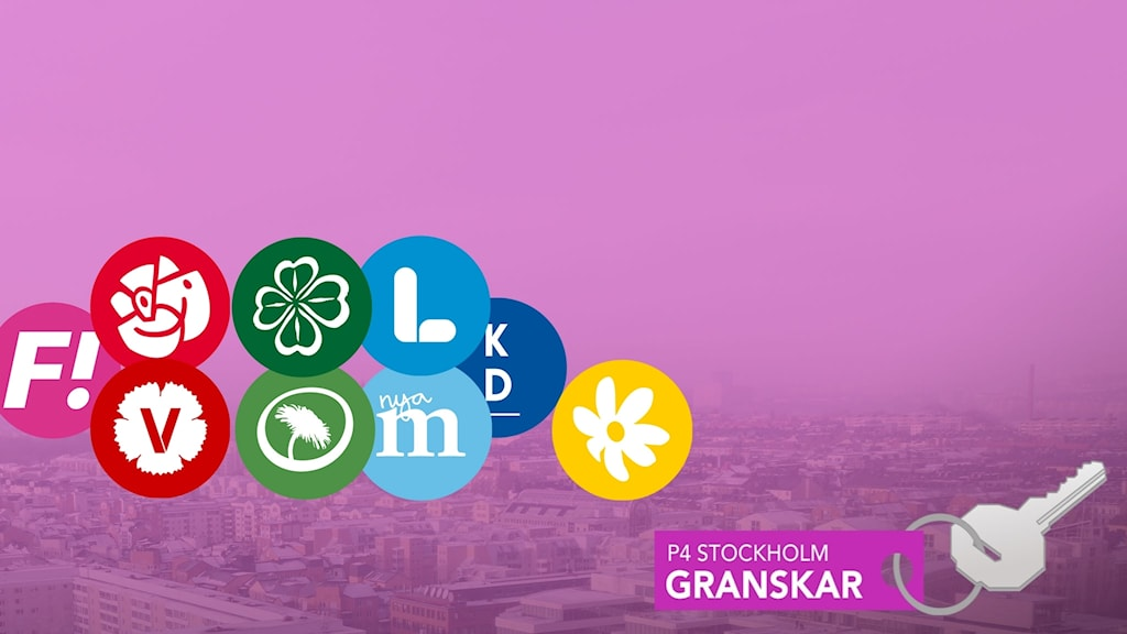 Partiers loggor på bild av Stockholm