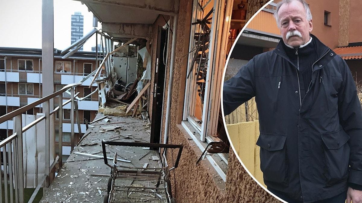 Skadade lägenheter och Arne Brovig vid en port.