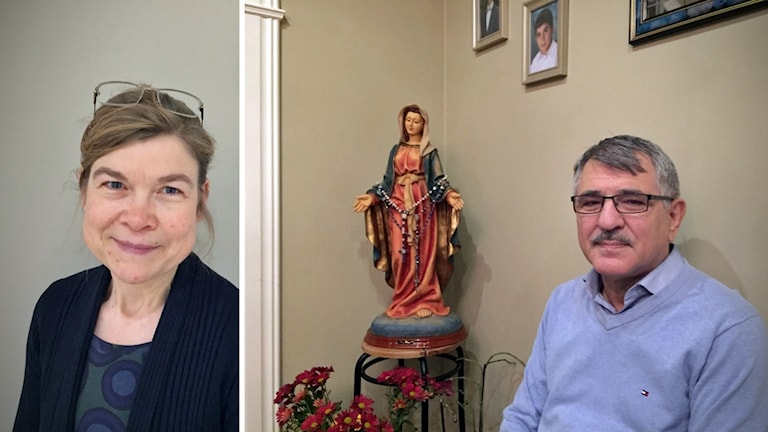 Arkitekt Anna Axberg och församlingsmedlemmen Adnan Yousef.