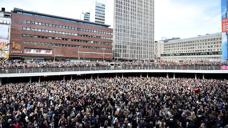 Manifestation för kärlek och omtanke på Sergels torg i Stockholm